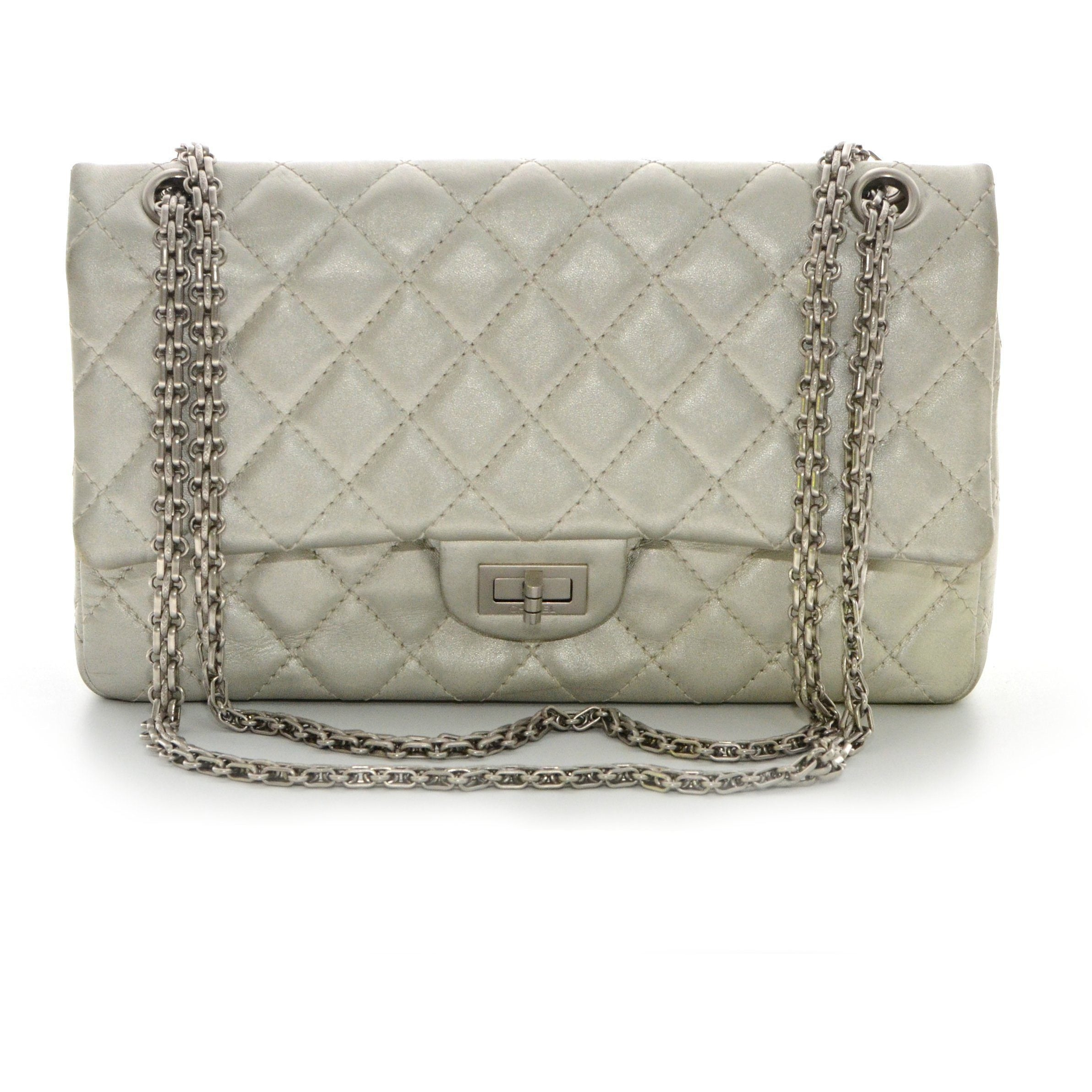 b5df90a0a47e CHANEL Metallic Aged Calfskin Quilted 2.55 Reissue 226 Flap Dark Silve – The  Vintage Contessa & Times Past