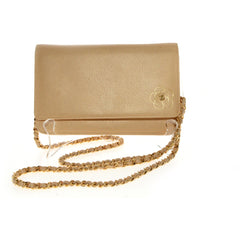 Chanel Gold Calfskin Leather Camellia Wallet On Chain.