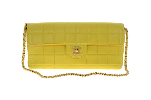 Chanel Yellow Single Flap Gold Chain Bag