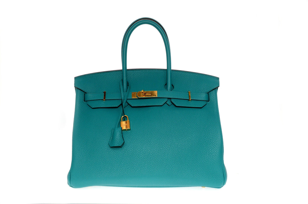 Hermes Birkin 35cm Blue Paon with Gold Hardware New Condition