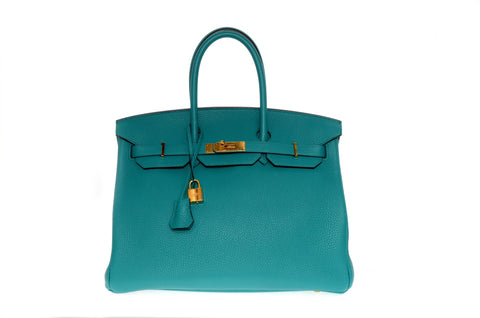 bd94cf199e6 Hermes Birkin 35cm Blue Paon with Gold Hardware New Condition