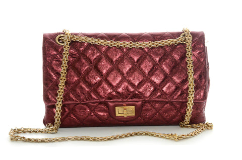 Chanel 2.55 Reissue 227 Metallic Aged Double Flap Burgundy Calfskin Shoulder Bag