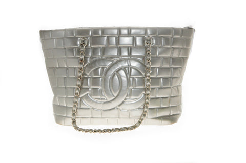 Chanel Vinyl Frozen Silver Quilted Tote w/ Chain.