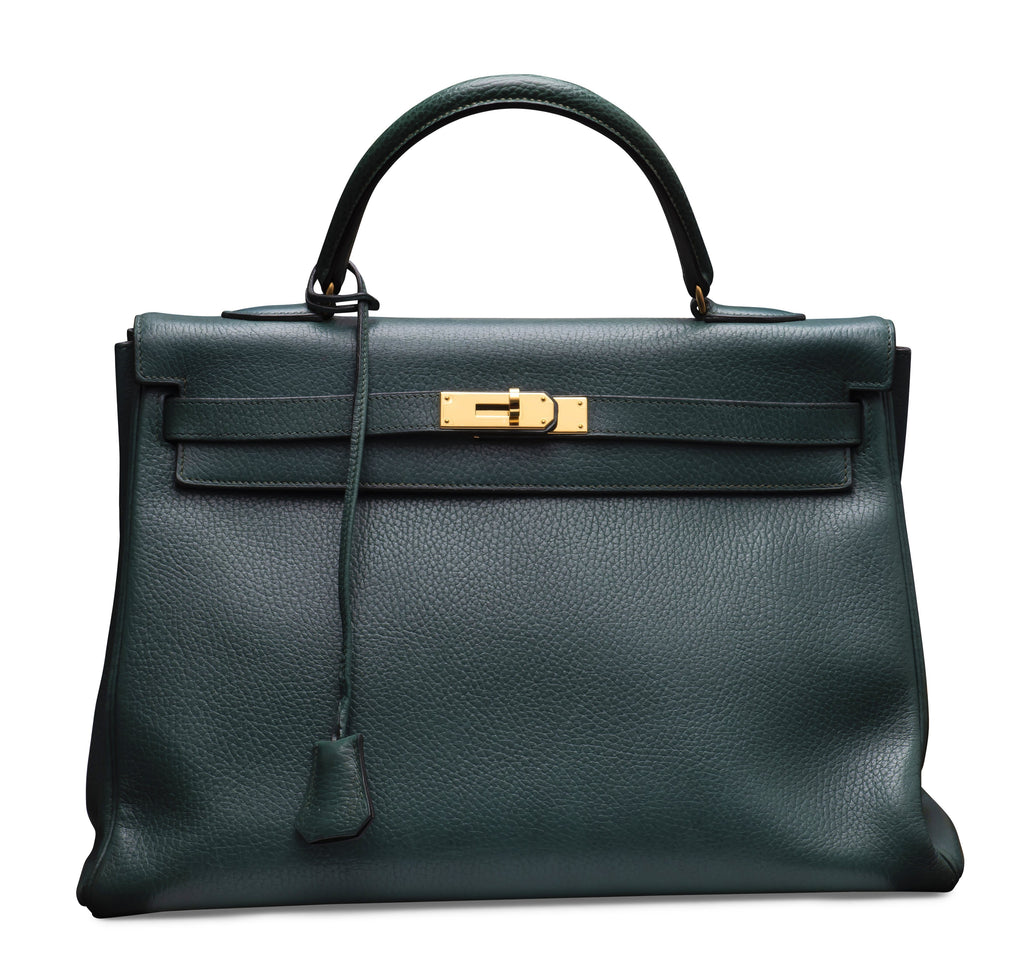 HERMES KELLY 32CM GREEN ARDENNES LEATHER WITH GOLD HARDWARE.