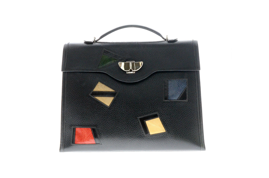 Hermes Kelley 32cm Limited Edition Black Epson & Lizard with Palladium Hardware.