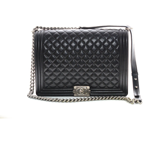 Chanel Boy Quilted Jumbo Black Lambskin Leather Shoulder Bag.