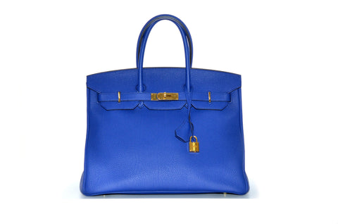 Hermes Birkin 35cm Electric Blue Togo Leather Year 2015 Code T. bffd417328ee2