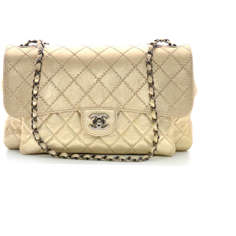 Chanel Single Flap Metallic Gold with Chain.