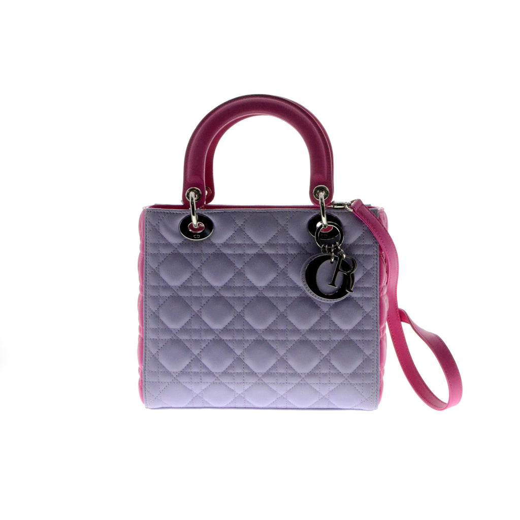Christian Dior LADY DIOR LAMBSKIN BAG Purple & Pink.