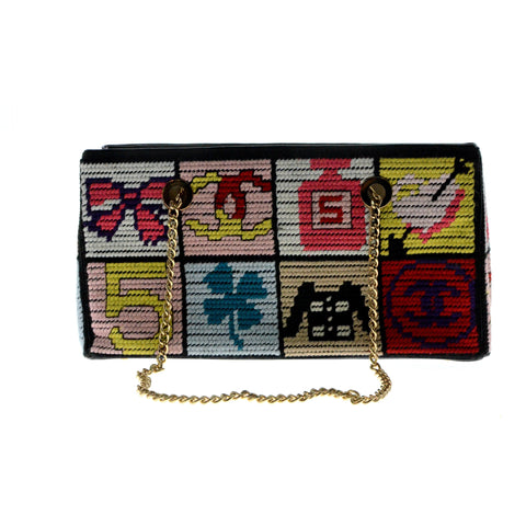Chanel Precious Symbols Needlepoint Gold Chain Shoulder Bag.