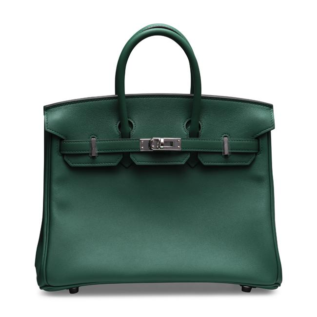 Hermes 25cm Birkin Vert Vertigo Green with Palladium Hardware.
