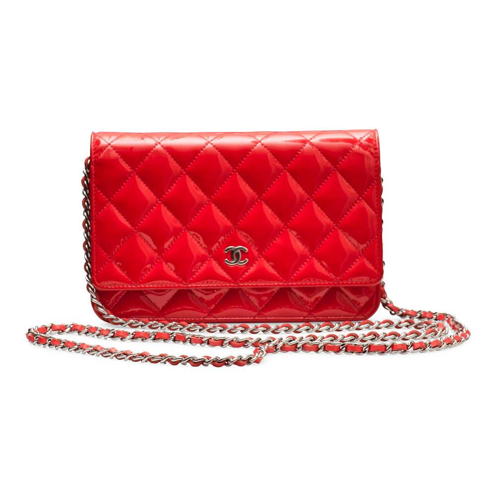 Chanel Red Patent Leather Wallet on Chain with Silver Hardware