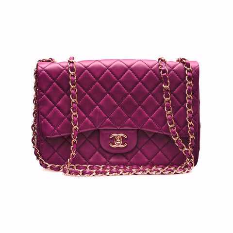 6040110a62f1 Chanel Large Classic Bag With Flap Purple Lamb Skin   Gold Hardware