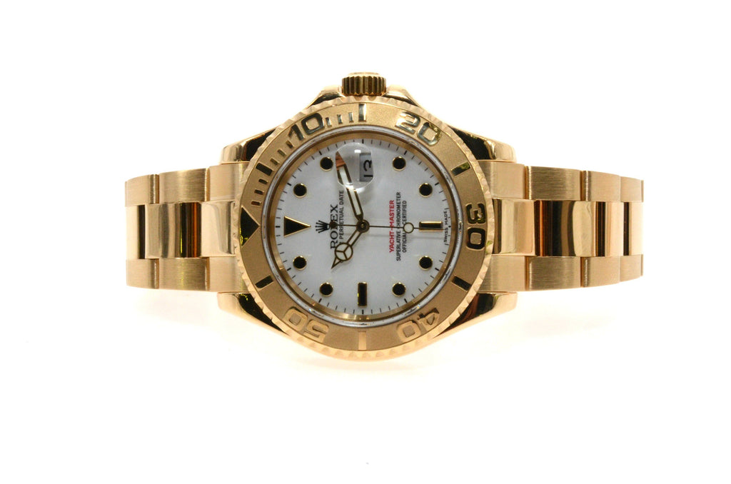 ROLEX OYSTER PERPETUAL 40MM MEN'S YACHT-MASTER 16628  18K YELLOW GOLD WHITE DIAL DIAL WATCH