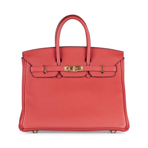 8e9307499f27 Hermes Birkin 25cm Red Vermillon Togo Leather with Gold Hardware.