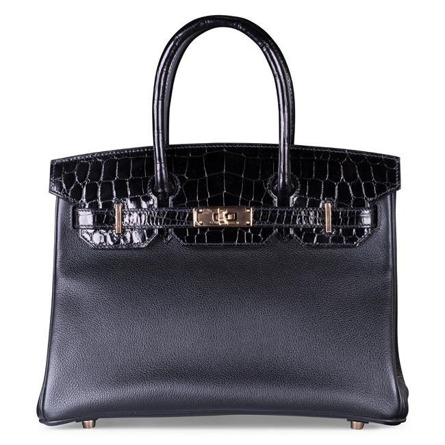Hermes 30cm Black Crocodile & Clemence Leather with Rose Gold Hardware.