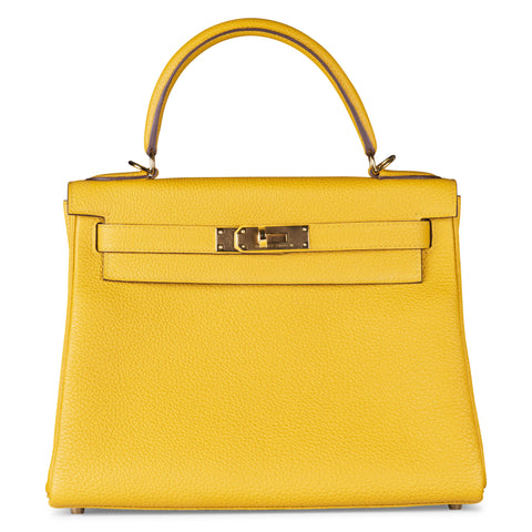 d0992d12aea Hermes Kelly 25cm Yellow Soleil Togo Leather with Gold Hardware.