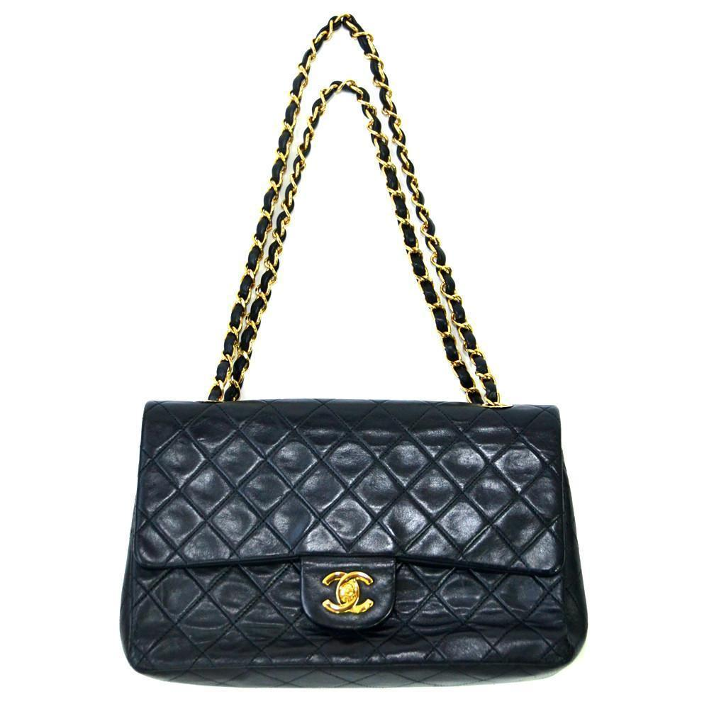 4f4bbe6e0b76 Authentic Vintage Chanel 23cm Bag in Black Lambskin Leather with Gold  Hardware