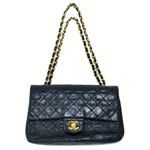 Authentic Vintage Chanel 23cm Bag in Black Lambskin Leather with Gold Hardware