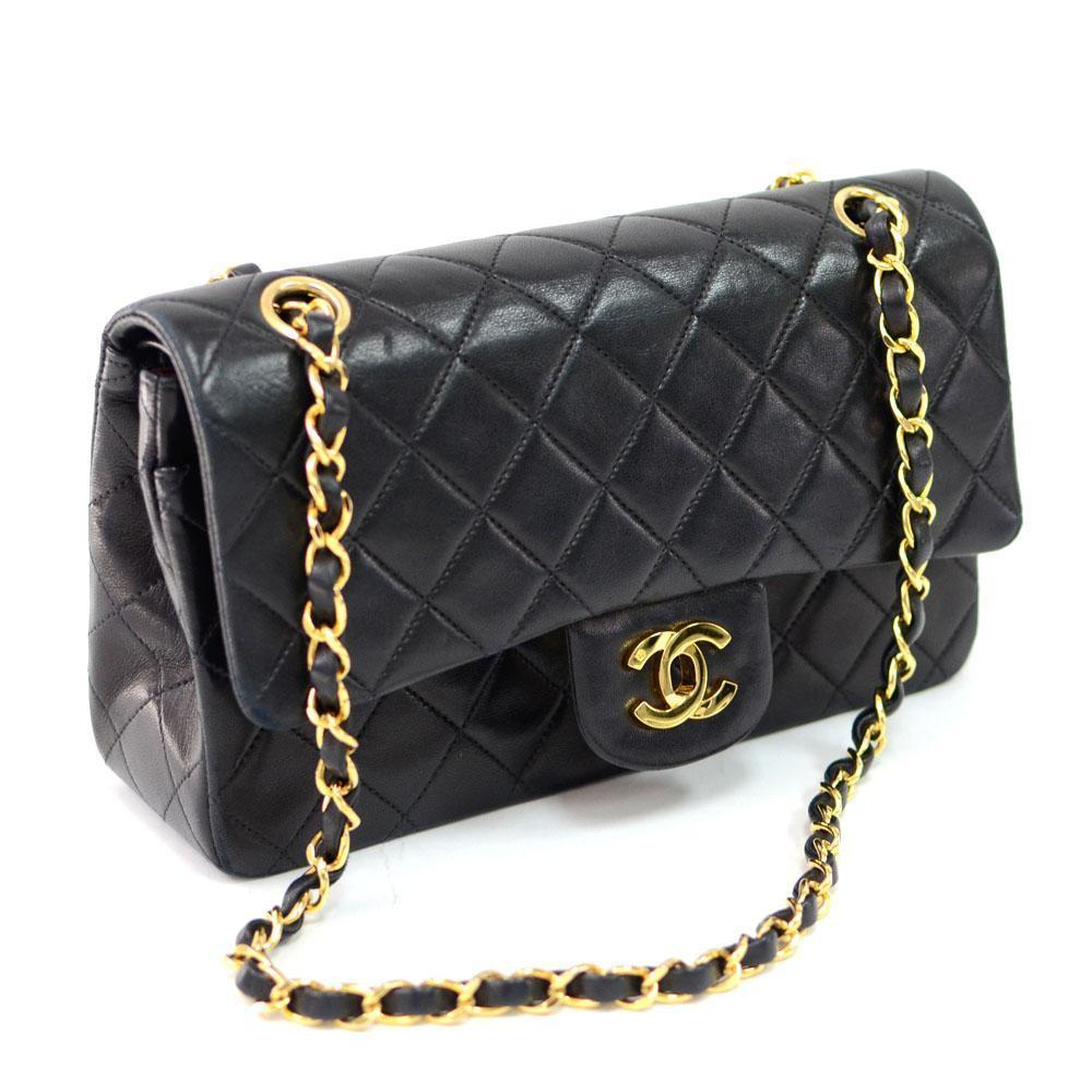 Authentic Chanel  Double Flap in Black Quilted Leather with Gold Hardware
