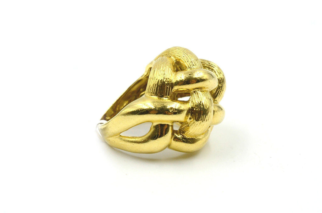 Basket Weave Dome 18K Yellow Gold Ring circa 1980