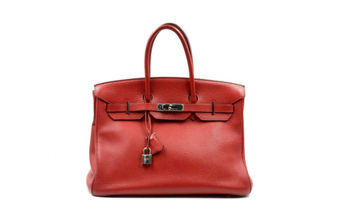 f95a134068f Hermes 35cm Rouge ( Red ) Garance Clemence Leather Birkin