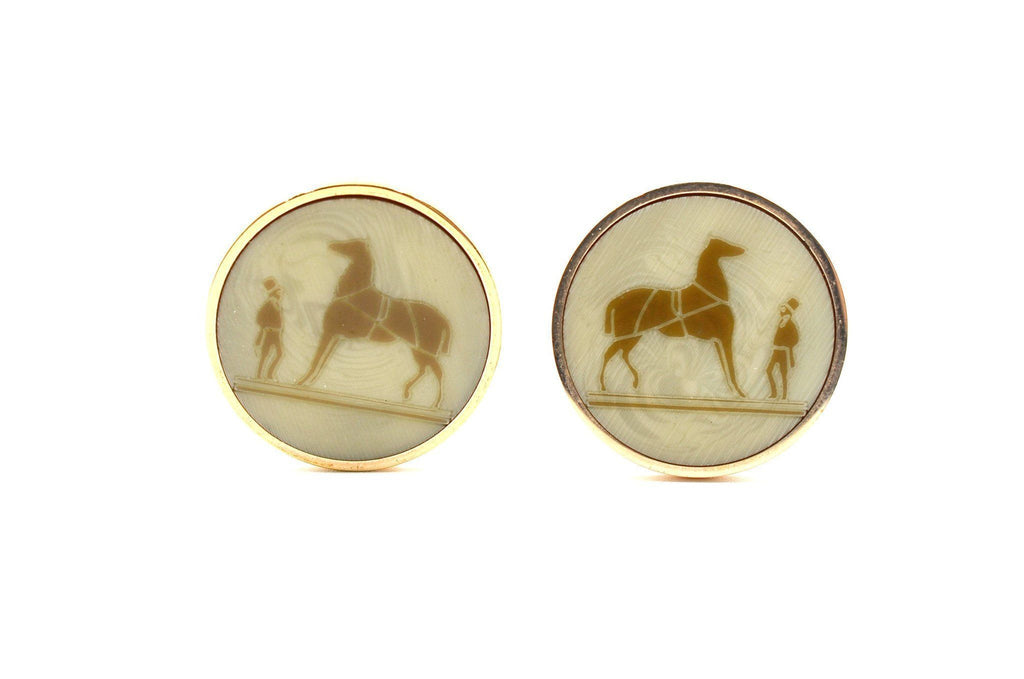 Hermes Vintage Signature Horse Clip Earrings