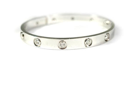 CARTIER LOVE BRACELET WHITE GOLD 10 DIAMOND 19CM