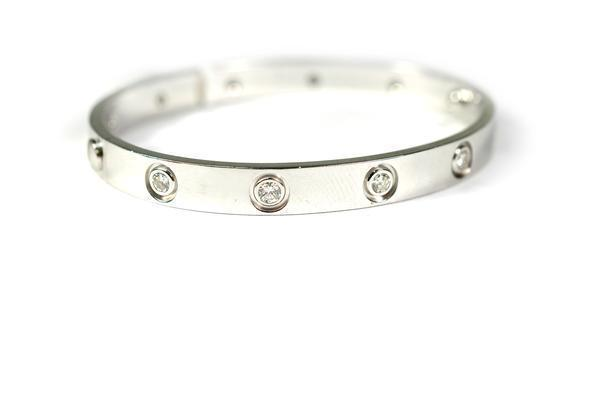 CARTIER LOVE BRACELET WHITE GOLD 10 DIAMOND 17CM