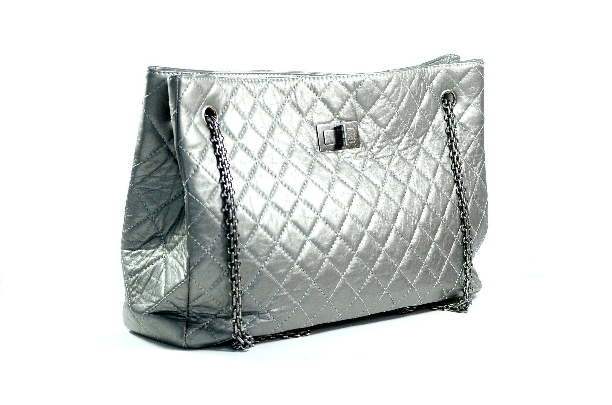 Chanel Quilted Silver Tote