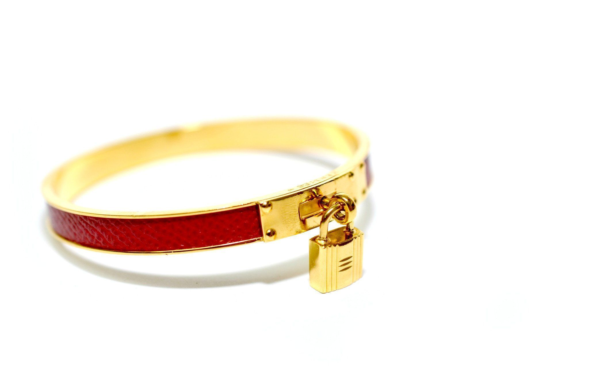 dccf9d56d Vintage Hermes Red Leather Gold Lock Bangle Bracelet – The Vintage ...
