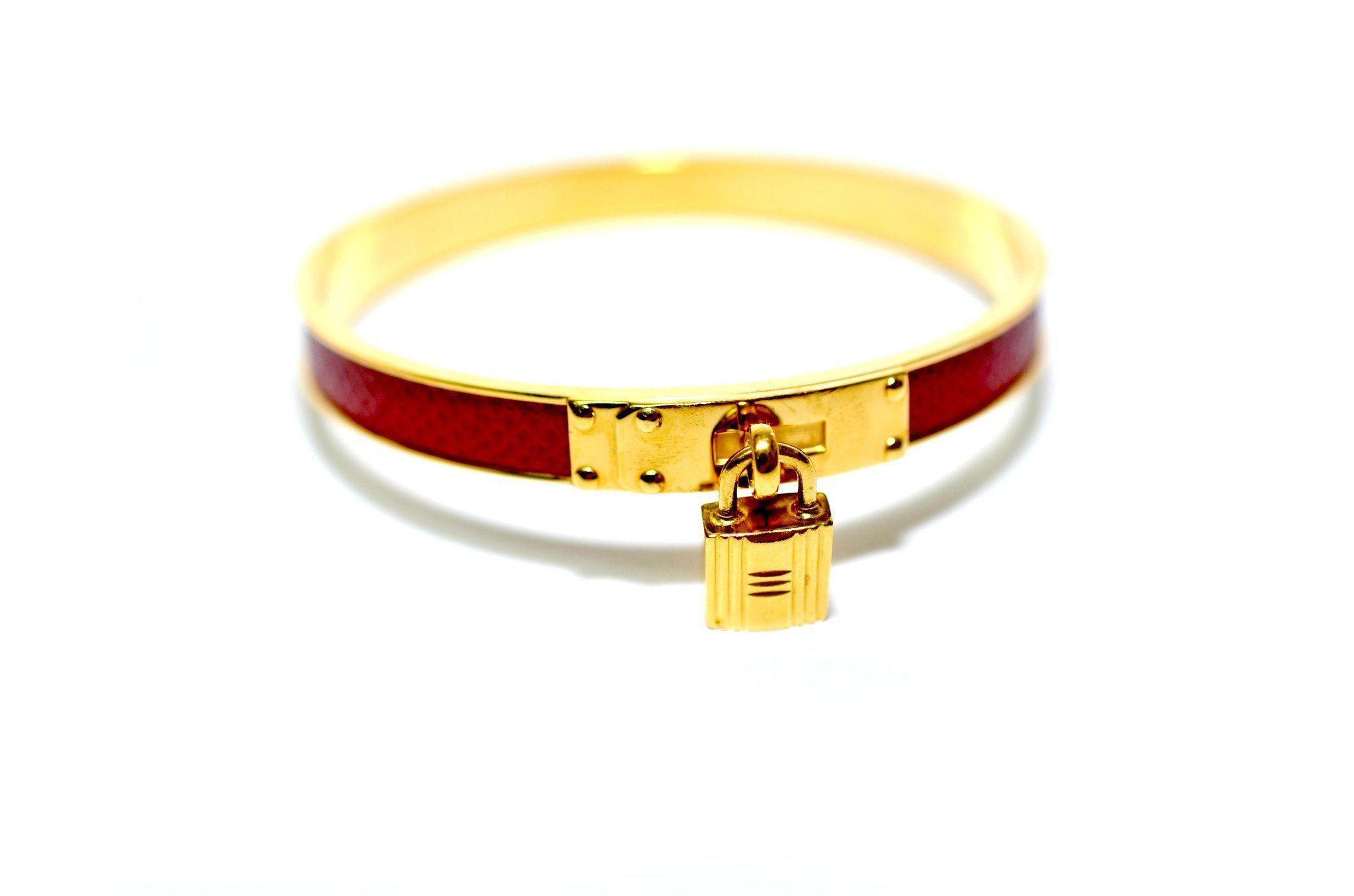 Authentic Vintage Hermes 7cm Red Leather and Gold Lock Bangle