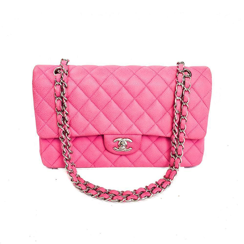 Chanel Double Flap Classic Pink Caviar Hand Bag.