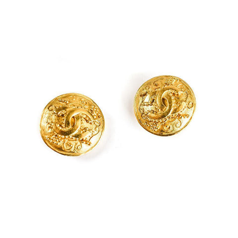 Chanel Double C Button Earrings