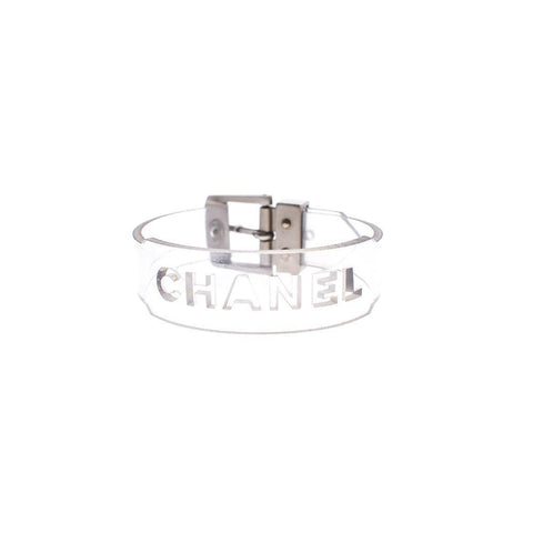 Chanel Clear Vinyl Bracelet with Silver Hardware