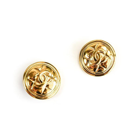 Chanel Quilted Button Earrings