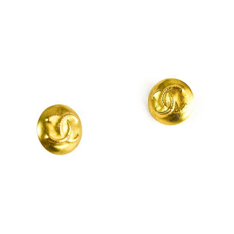 Chanel Double C Hammered Earrings