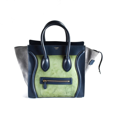 Celine Luggage Mini Tri Color Blue, Green, Grey