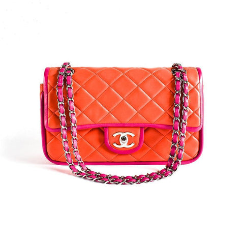 Chanel Double Flap Orange/Purple Lambskin