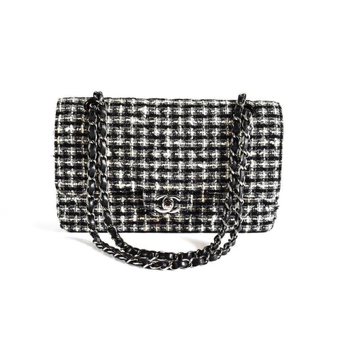 Chanel Black & White Tweed Double Flap Medium Classic Bag.