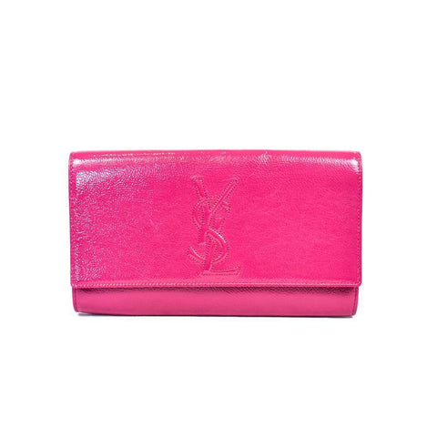 2dc804466eb Yves Saint Laurent Belle de Jour Leather Clutch in Pink