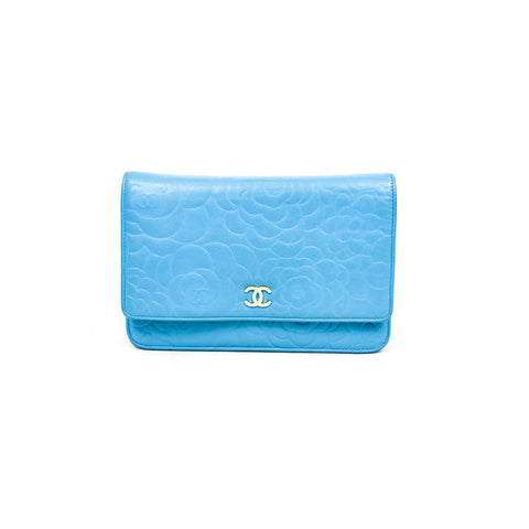 Chanel Turquoise Camélia Embossed Leather Wallet