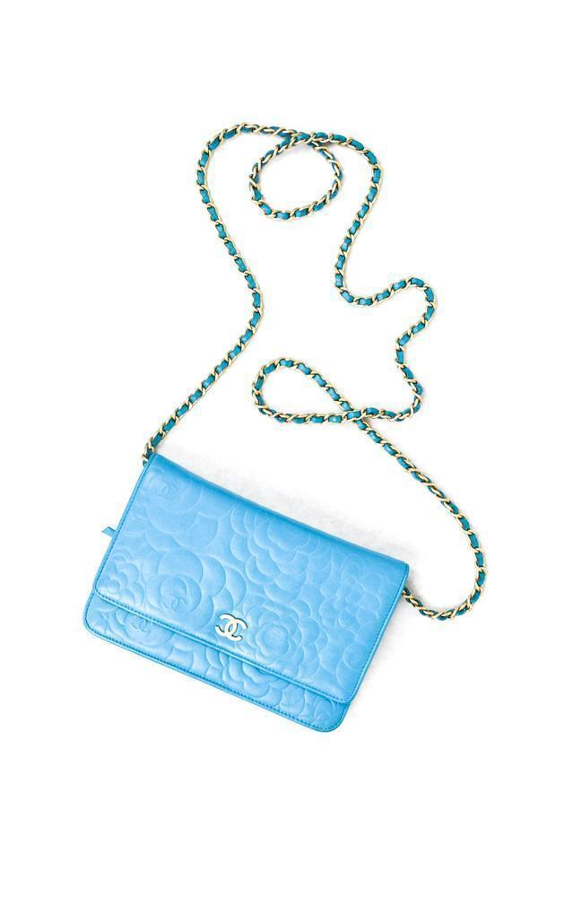 Chanel Turquoise Cam lia Embossed Leather Wallet