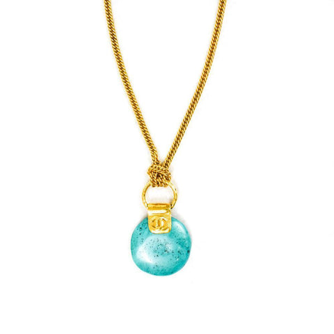 Chanel Turquoise Stone Pendant Necklace