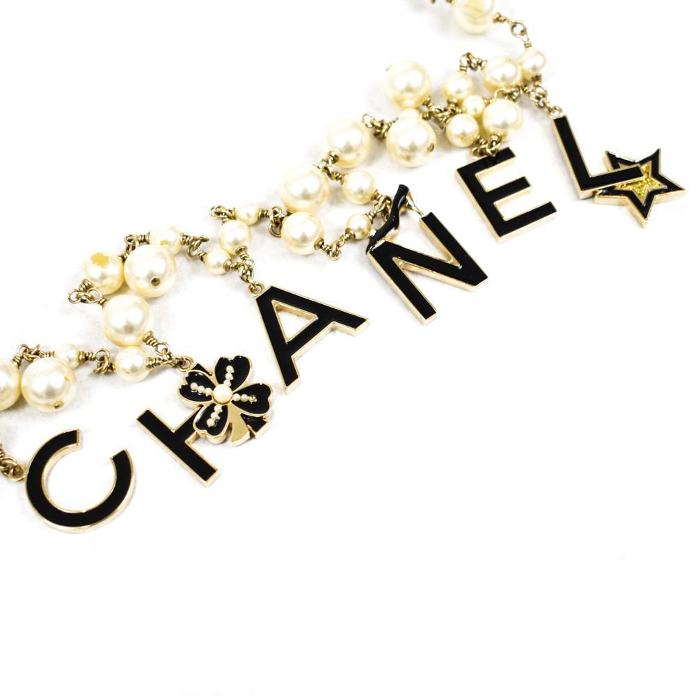 Chanel Pearl and Letter Gold Charm Necklace