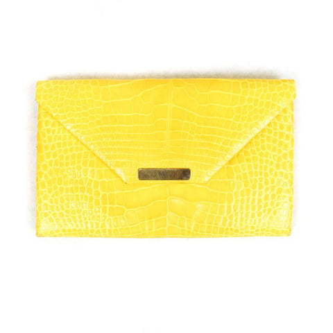Alexandra Knight Yellow Croc Clutch