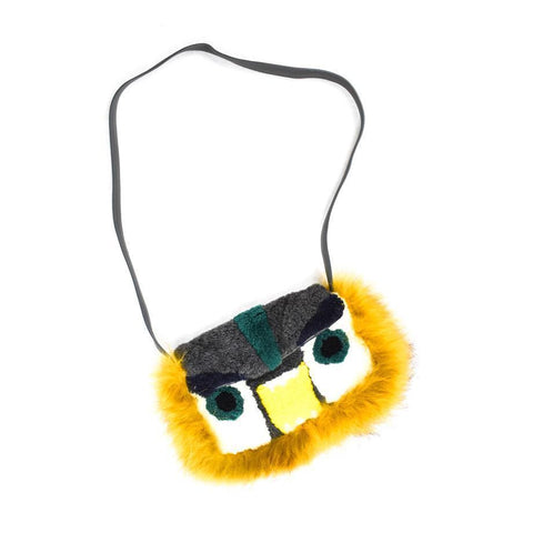 Fendi Yellow Monster Fox Fur Baguette