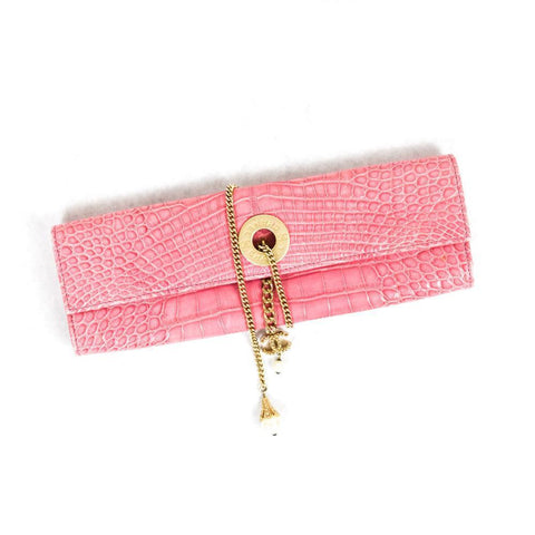 Chanel Pink Crocodile Clutch with Chain