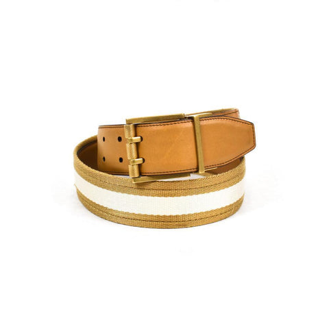 Gucci Tan Leather Reversible Canvas Belt