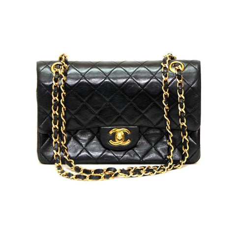 Authentic Vintage Chanel 23cm Bag in Black Calf Leather with Gold Hardware
